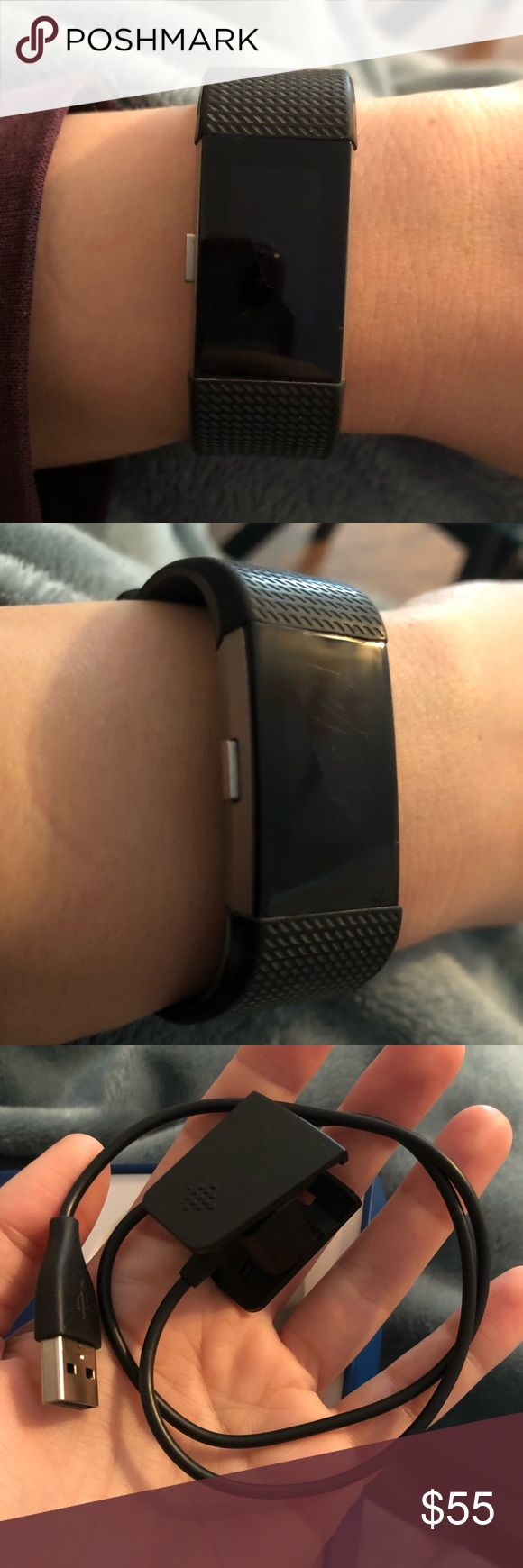 Fitbit Charge 2 Small Fitbit Charge 2. Some searches on the screen, but overall in good condition. Only worn for a couple months.  PurePulse® Heart Rate Multi-Sport Tracking and Connected GPS Call, Text, and Calendar Alerts Cardio Fitness Level Guided Breathing Sessions SmartTrack™ Auto Exercise Recognition Reminders to Move Auto Sleep Tracking Fitbit Accessories Watches