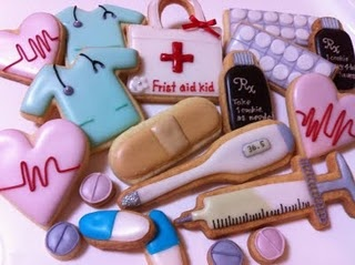 medical cookies! Now if only we had the energy to bake and frost we could take these to our nurses and doctors.