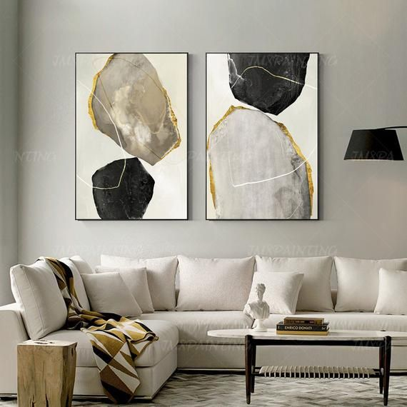 Framed Wall Art Set Of 2 Prints Abstract Print Geometric Art Etsy In 2020 Black Canvas Art Geometric Painting Wall Art Pictures