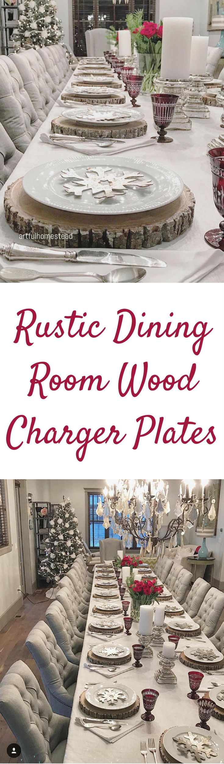 These charger plates are beautiful for a rustic dining room or a rustic wedding reception! #ad #rusticdecor #rusticwedding #rusticfarmhouse #chargerplates #wood #woodwork #plates #diningroom #diningroomideas #diningroomdecor #diningtable