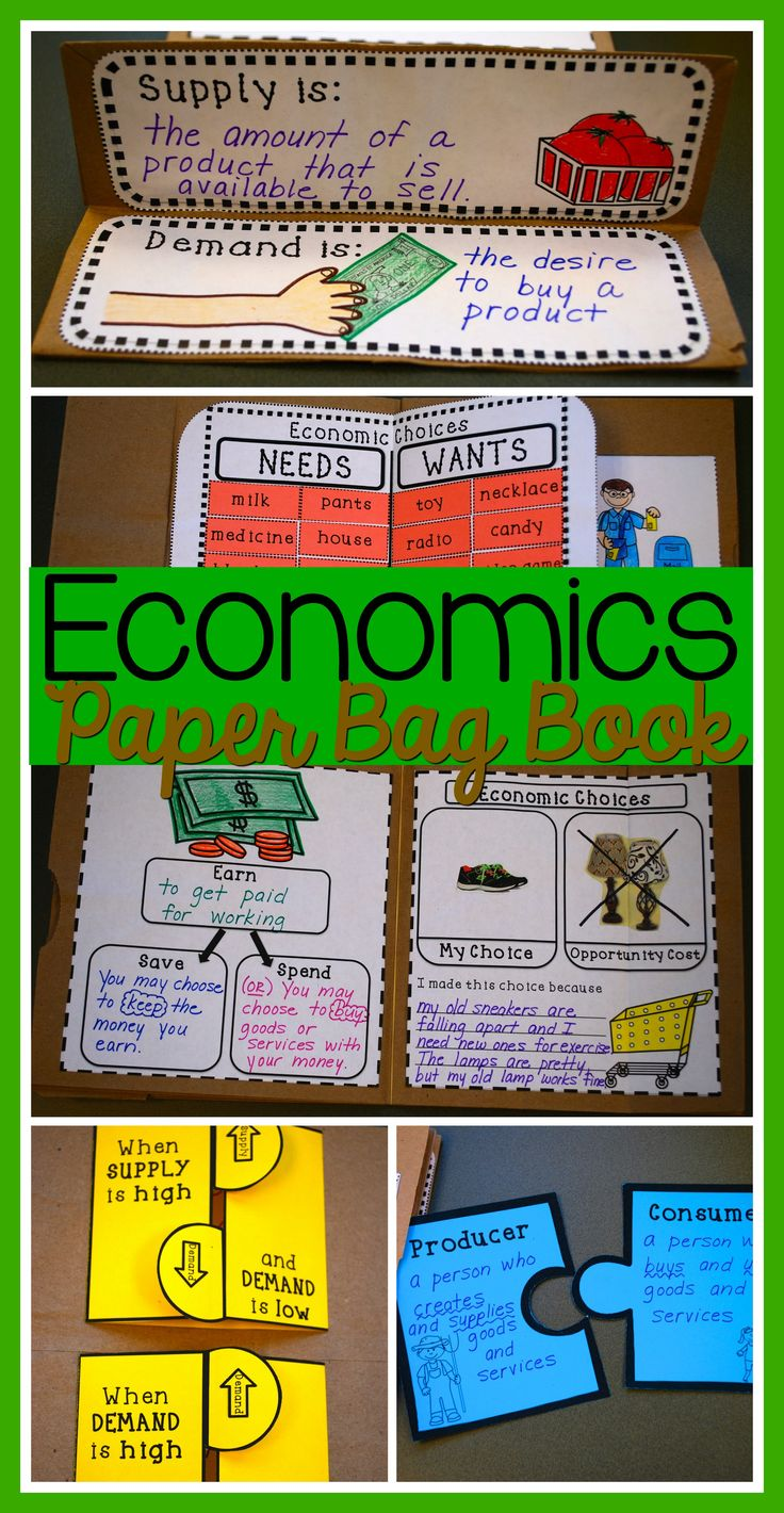 Students make a book about economics using paper bags. Covers basic economics concepts for grades 2-3. Keep everything in one place and then send it home as a unique keepsake. The printable pages also fit in a standard size notebook.