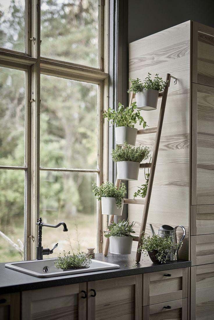 SATSUMAS Plantenstandaard met 5 potten, bamboe, wit