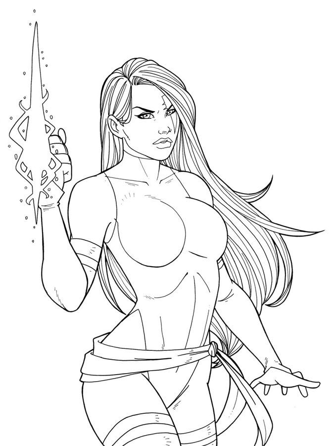 Coloring Pages Psylocke Printable For Kids Adults Free Psylocke Coloring Pages Female Character Design