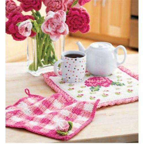 Free Rose Potholder & Dishcloth Crochet Pattern