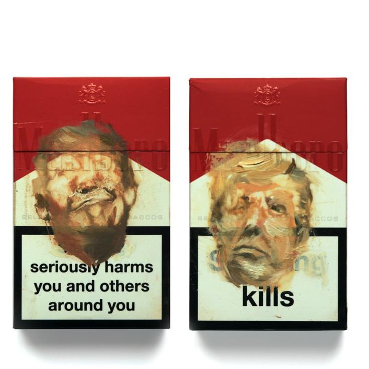 antony micallef paints donald trump's face on the front of cigarette packets for latest group exhibition