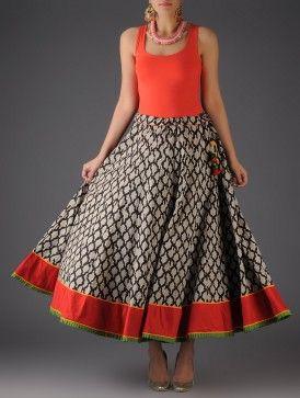 Ivory - Black Handblock Printed Cotton Skirt - Free Size