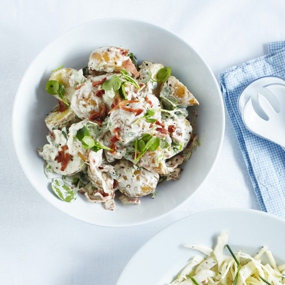 We love the bacon in this bacon and watercress potato salad