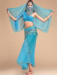Danza del Vientre Accesorios Mujer Representación Gasa Chinlon 5 PiezasTop Falda Velo Bufanda Hip y cinta de Danza del vientre no