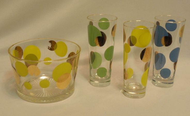 Vintage Mid Century Russel Wright Glasses Polka Dot Ice Bucket Set Of 3 0051010 in Pottery & Glass, Pottery & China, China & Dinnerware   eBay