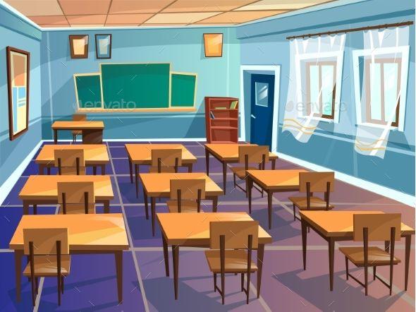 School Or University Classroom Vector Cartoon Vector Eps Classroom Interior Classroom Background Classroom