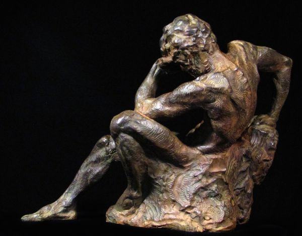 #Bronze #sculpture by #sculptor Wesley Wofford titled: 'Comprehension (nude Man Reclining Thinking statue)'. #WesleyWofford