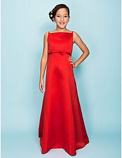 Lanting Bride® Floor-length Satin Junior Bridesmaid Dress A-line / Princess Spaghetti Straps Natural with Bow(s) / Sash / Ribbon – USD $ 49.99