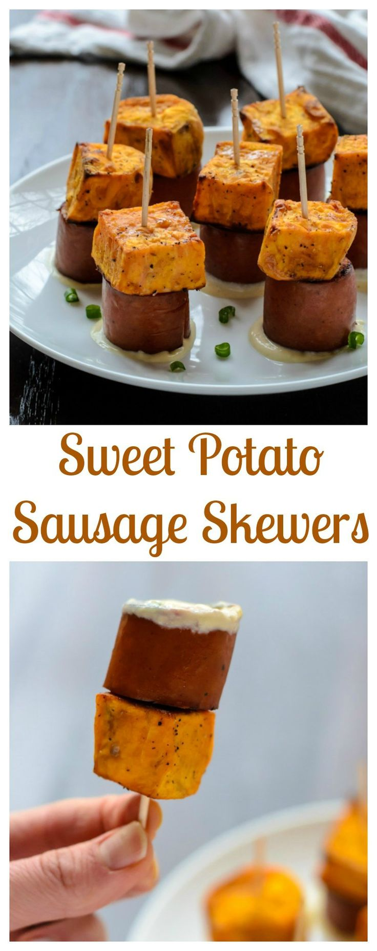 An easy, healthy appetizer: Sweet Potato Sausage Skewers. Sweet, smokey and addictive! {paleo, gluten free}