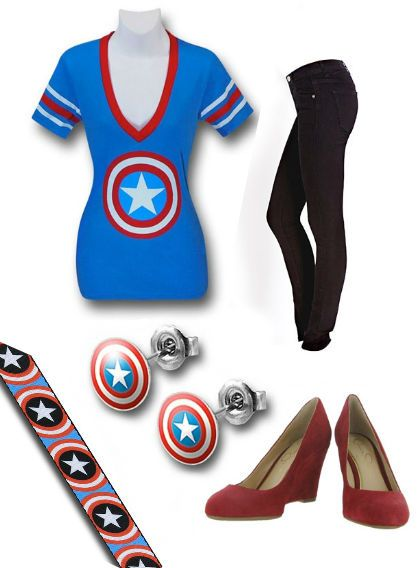"Movie Premieres: ""The Winter Soldier Women's Outfit"" by Danielle Deihm.  Capt America Blue Web Belt: http://www.superherostuff.com/captain-america/belts/captain-america-shields-on-blue-web-belt.html?itemcd=beltcapshldbluwb  Cap America Stud Earrings: http://www.superherostuff.com/captain-america/earrings/captain-america-316l-surgical-steel-18g-stud-earrings.html?itemcd=earcapshieldstud Capri Wedges…"