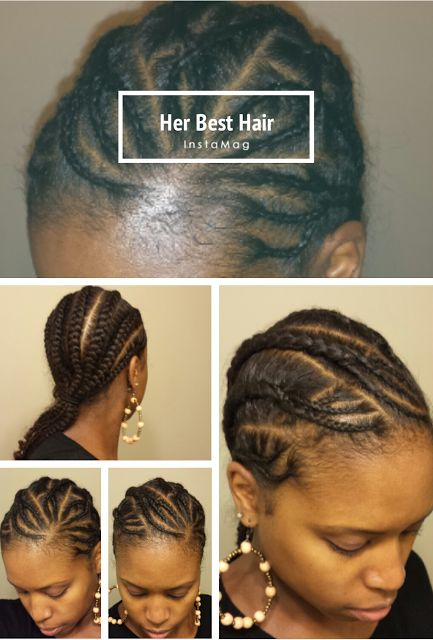 Natural hair. Cornrows. Protective Style. To learn how to grow your hair longer click here - http://blackhair.cc/1jSY2ux