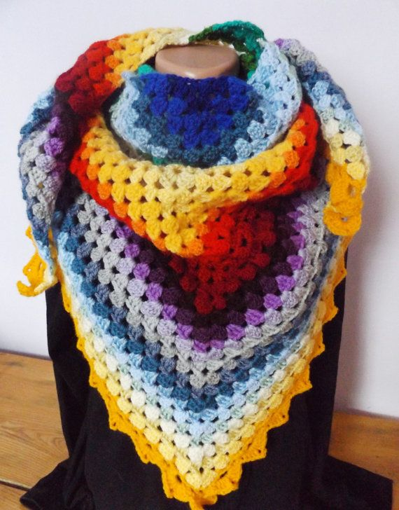 Crochet Colorful Wrap Triangular Rainbow by CharmingBeautique
