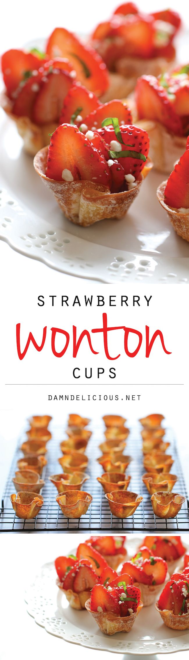 Strawberry Wonton Cups - These elegant wonton cups come together so quickly and easily, and you can even make them ahead of time. Perfect for Valentines Day!