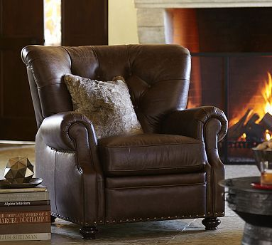 Lansing Leather Recliner #potterybarn.  This would look lovely in my house .. Don't need a Chicago Bears recliner this will do !