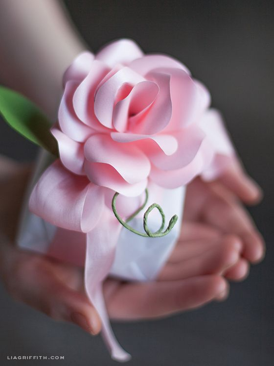 DIY Paper Rose Made with a Metallic Paper   Long Stemmed Rose Tutorial