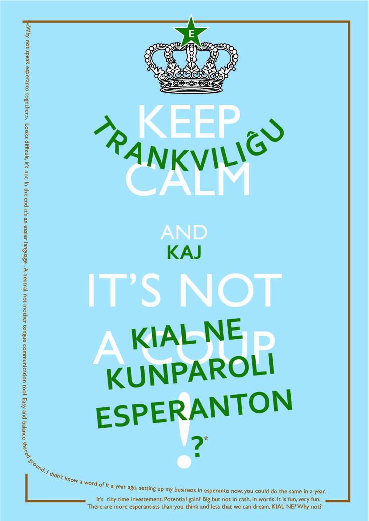 Trankviliĝu tio ne estas puĉo! Kelke foje neesperantistoj timas pri esperanta povo. Tute kontraŭe esperanto estas nehegemonia lingvo.