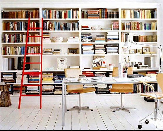 Ditte Isager: Libraries, Bookshelves, Interior, Workspace, Ladders, Home Office, Red Ladder