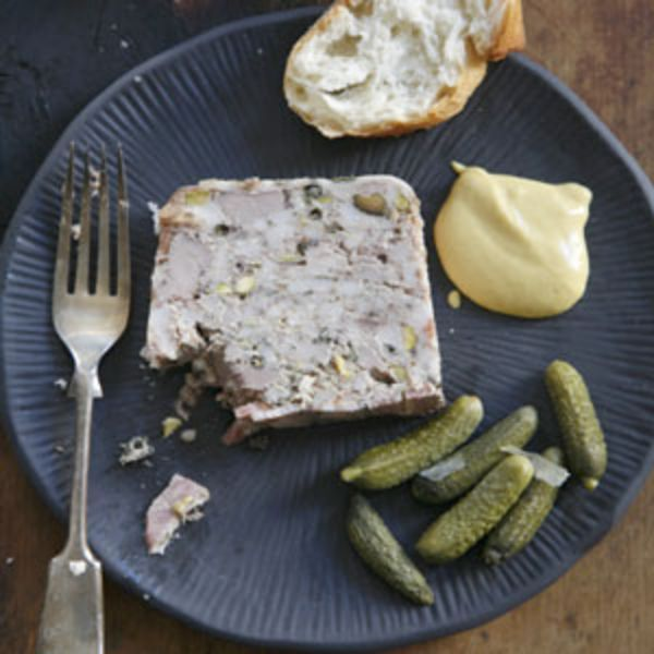 Patience is the key to making this flavorful pâté, studded with pistachios and perfumed with thyme and green peppercorns.
