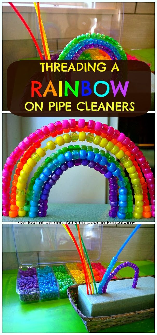Threading a rainbow on pipe cleaners- fine motor activity for kids. Great for reviewing colors