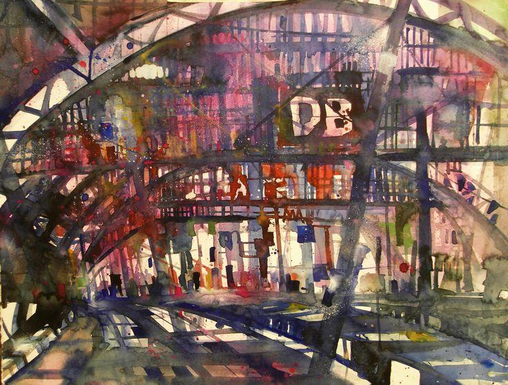 Berlin, Hauptbahnhof, Aquarell auf Bütten, 56 x 76 cm, 2014
