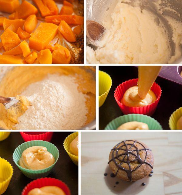 Muffins de calabaza ¡una receta ideal para Halloween! Una receta de Halloween paso a paso: hacemos muffins de calabaza con telaraña de chocolate. ¡Riquísimos!