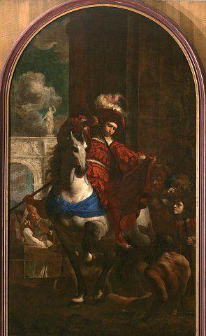 Karel Škréta - Svatý Martin se dělí se žebrákem o svůj plášť (po 1645, NG Praha)