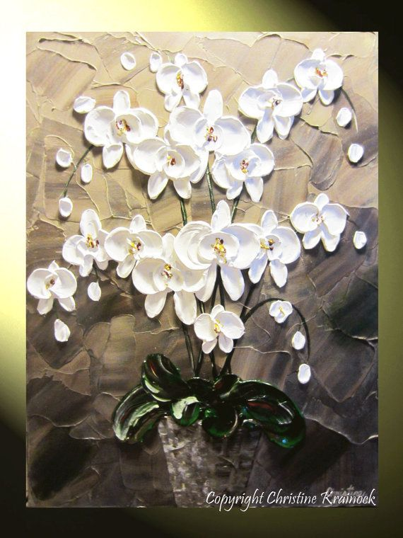 ORIGINAL #Art Abstract #Painting #Orchids White Orchid Palette Knife #Paintings brown modern contemporary fine art, #holiday #home decor gallery canvas by International Artist, Christine Krainock