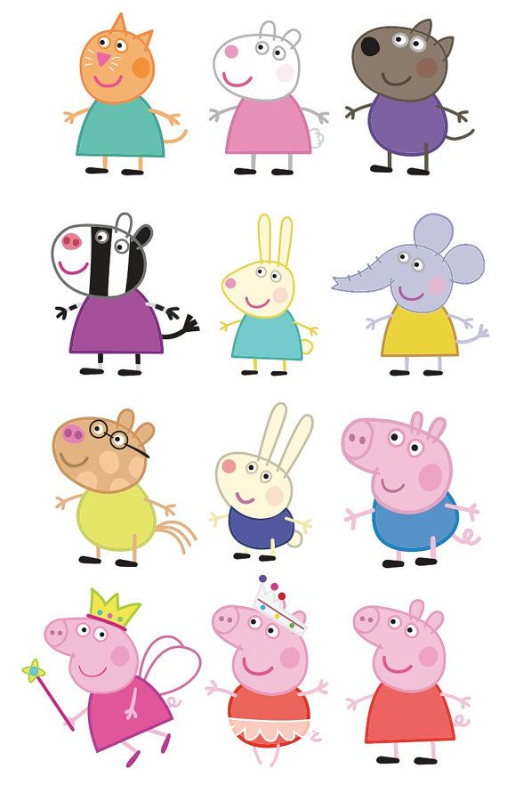 24 Images Peppa Pig JPG & PNG 300 DPIs by Migueluche on Etsy                                                                                                                                                                                 Más