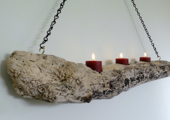 Hanging Driftwood Candleholder by PalmTreeSoda on Etsy, $23.00