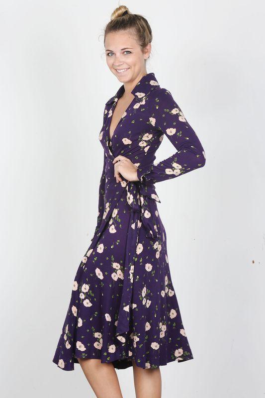 Diane Von Furstenberg Purple Floral Wrap Dress Bib