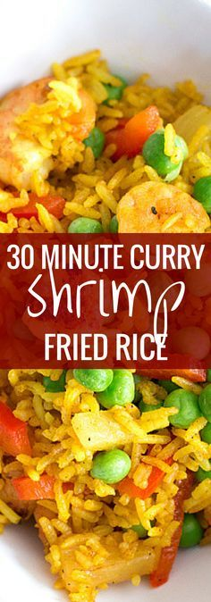 30 Minute Curry Shrimp Fried Rice - super simple one pan recipe and SO good! We eat this ALL the time! | savorynothings.com