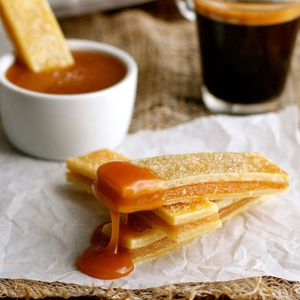 Baked Apple Pie Fries with Salted Caramel Dipping Sauce