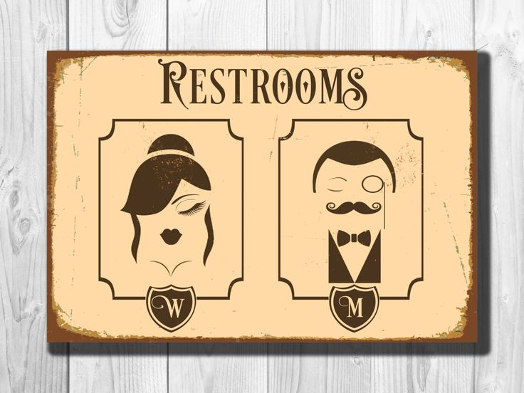 Restrooms Sign - Vintage style Aluminum Composite Metal Restroom Sign Toilet Sign Male Female Restrooms Sign WORLDWIDE SHIPPING by ClassicMetalSigns on Etsy
