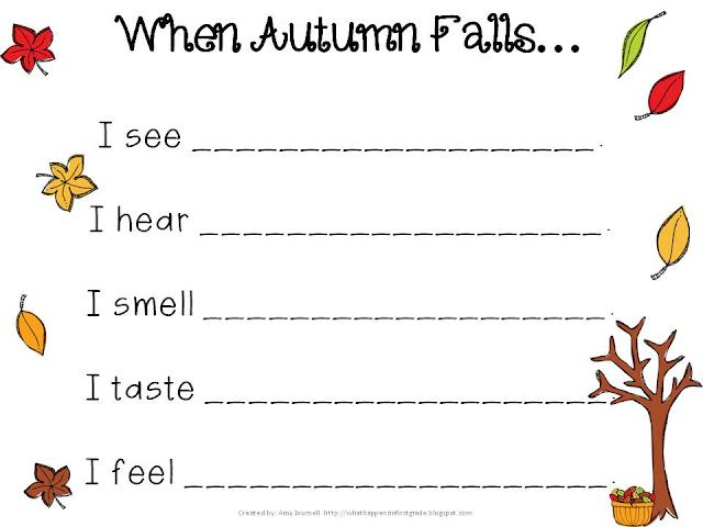 FREE fall poem template for sensory poem
