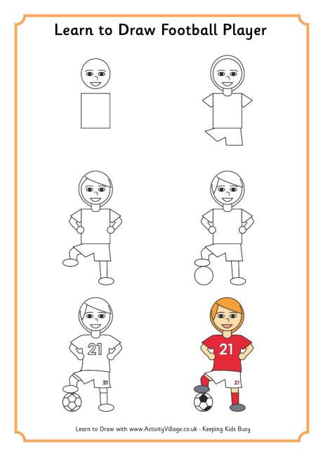 Learn to draw a football player