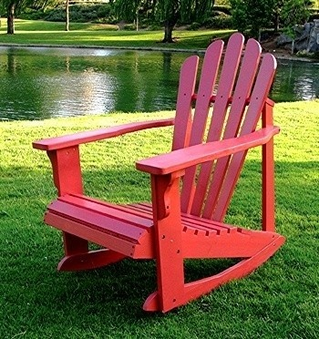 Solid Cedar Adirondack Style Rocking Chair in Red Finish traditional outdoor chairs