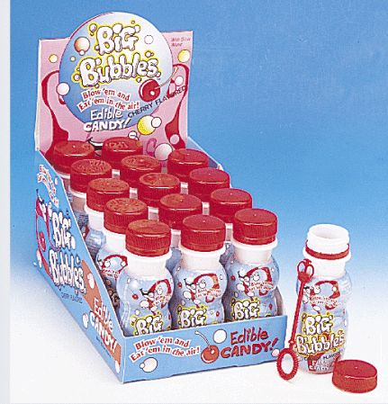 Blow cherry flavored bubbles! Why settle for plain soapy bubbles (ick!) when your bubbles could taste like little floating cherries! Bottles contain sugary liquid with a plastic blower that makes real bubbles. Don't worry mom, it won't hurt your fancy furniture. Chase these yummy flying treats across the backyard or through the park!