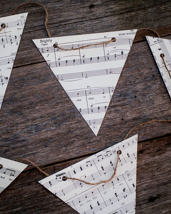 vintage music decoration - DIY paper bunting kit - party decoration bedroom decor. $19.95, via Etsy.