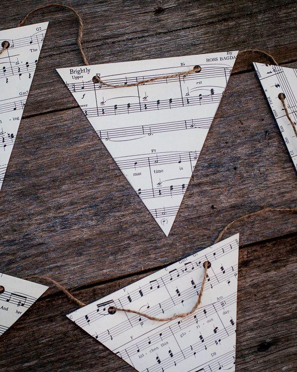 vintage music decoration - DIY paper bunting kit - party decoration bedroom decor. $19.95, via Etsy.