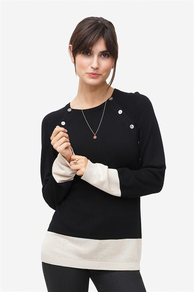 2 colour nursing pullover in wool