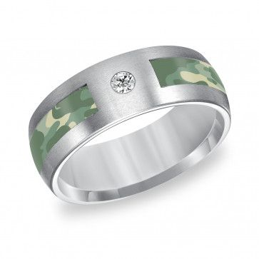 Triton Tungsten Carbide 8mm Diamond Wedding Band with Green Camouflage Inlay