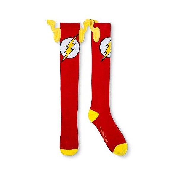 Justice League The Flash Women's Knee High Sock (£8.07) ❤ liked on Polyvore featuring intimates, hosiery, socks, red, knee high socks, knee hi socks, knee socks, red knee high socks and red socks