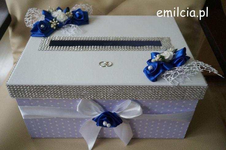 Pudełko na Koperty - Pieniążki .... Ślub, I Komunia Św., Chaber, Biel i Srebro , Wedding