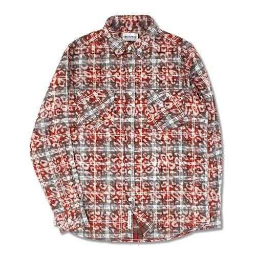 레오파드 패턴의 코튼 플란넬 타탄체크 셔츠 MarchWith 마치위드 [MarchWith] LEOPARD FLANNEL SHIRTS Red brown