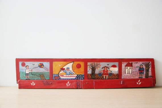 Four seasons painting folk art painting of by ArktosCollectibles