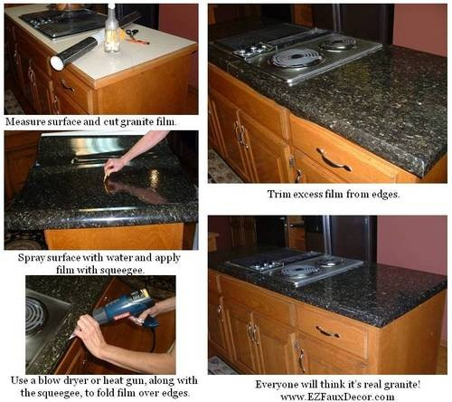 Ez Faux Granite Countertops : Cool instant vinly counter top black granite look vinyl